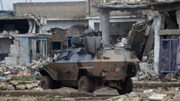 A Turkish military armored vehicle drives in the northern Syrian rebel-held town of al-Rai, Syria January 5, 2017 - Sputnik International