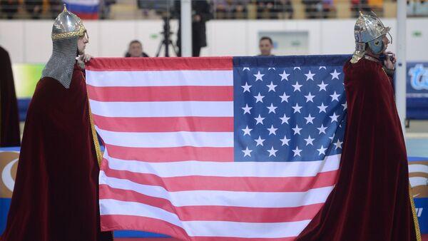 Russia ancient warriors with US flag - Sputnik International