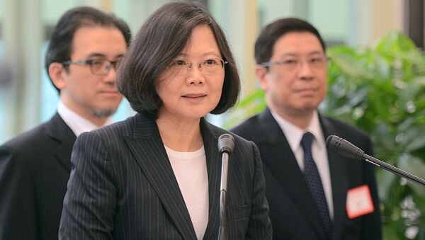Taiwan's President Tsai Ing-wen delivers a speech before traveling to visit Central American allies including a U.S. transit, Saturday, Jan. 7, 2017, at the Taoyuan International Airport in Taouyuan, Taiwan. Tsai pledged to bolster Taiwan's presence on the international stage on her visit four Central American allies on a trip that includes U.S. transits and looks set to raise China's ire. - Sputnik International