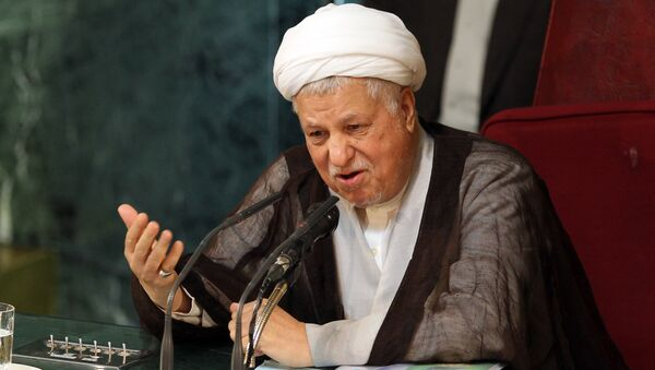 Former Iranian president and head of Iran's Assembly of Experts, Akbar Hashemi Rafsanjani, delivering a speech during a meeting of the top clerical body in Tehran. (File) - Sputnik International