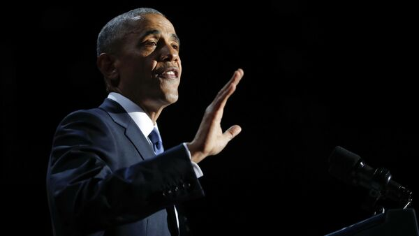 In this Jan. 10, 2017, photo, President Barack Obama speaks during his farewell address at McCormick Place in Chicago - Sputnik International