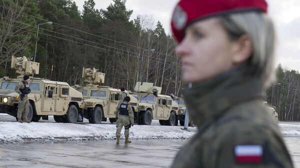 American soldiers are pictured during a welcome ceremony at the Polish-German border in Olszyna, Poland on January 12, 2017 - Sputnik International