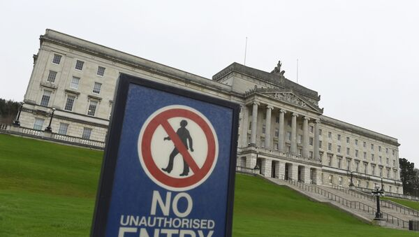 The Parliament Buildings at Stormont are seen behind a no entry sign, a day after deputy first minister Martin McGuinness resigned, throwing the devolved joint administration into crisis, in Belfast Northern Ireland, January 10, 2017. - Sputnik International