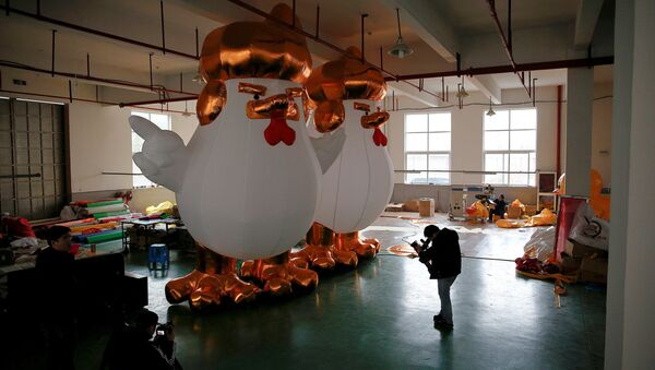 20-Meter Tall Inflatable Trump Rooster New Hit in China - Sputnik International