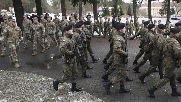 The official welcome ceremony for the US troops convoy in Zagan, Poland, Thursday, Jan. 12, 2017 - Sputnik International