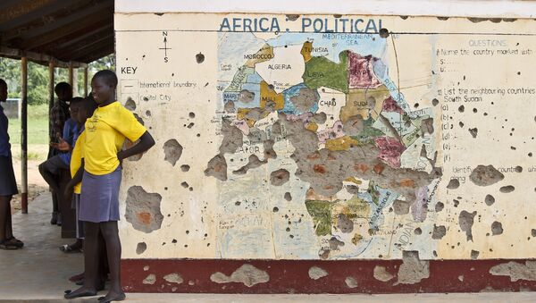 Students line up outside a classroom with a map of Africa on its wall, in Yei, in southern South Sudan (File) - Sputnik International