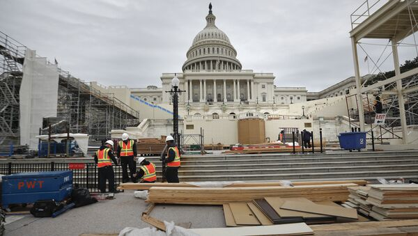 Construction continues on the Inaugural platform in preparation for the Inauguration and swearing-in ceremonies for President-elect Donald Trump, Thursday, Dec. 8, 2016, on the Capitol steps in Washington - Sputnik International