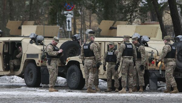 American soldiers attend a official welcome ceremony for the US troops in Zagan, Poland, Thursday, Jan. 12, 2017 - Sputnik International