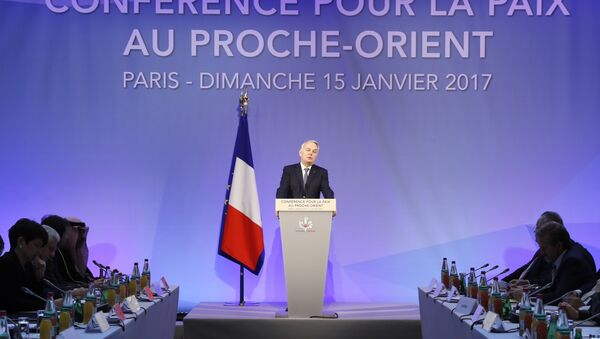 French Minister of Foreign Affairs Jean-Marc Ayrault addresses delegates at the opening of the Mideast peace conference in Paris on January 15, 2017. - Sputnik International