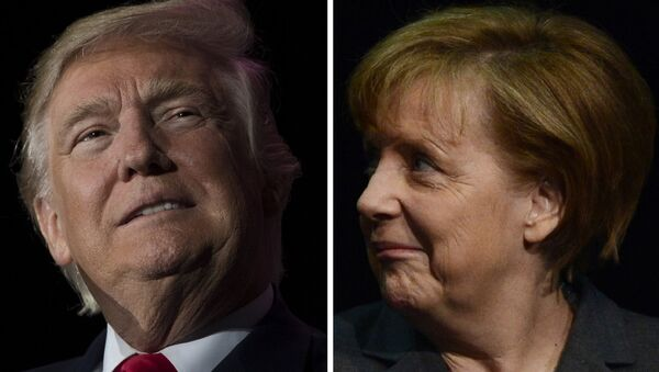 This combination of file photos created on January 16, 2017 shows US President-elect Donald Trump (December 16, 2016 in Orlando, Florida) and German Chancellor Angela Merkel (R, March 9, 2014 in Hanover). - Sputnik International