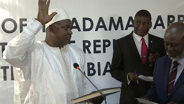 Adama Barrow is sworn in as President of Gambia at Gambia's embassy in Dakar Senegal in this image taken from TV Thursday, Jan 19, 2017 - Sputnik International