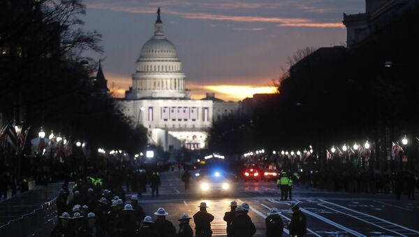 Security personnel gather on Pennsylvania Avenue before the presidential inauguration of President-elect Donald Trump, Friday, Jan. 20, 2017, in Washington - Sputnik International