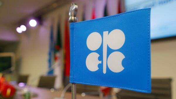 A flag with the Organization of the Petroleum Exporting Countries (OPEC) logo is seen before a news conference at OPEC's headquarters in Vienna, Austria, December 10, 2016 - Sputnik International