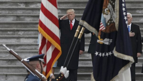 Newly inaugurated U.S. President Donald Trump salutes as he presides over a military parade during Trump's swearing ceremony in Washington, U.S., January 20, 2017 - Sputnik International