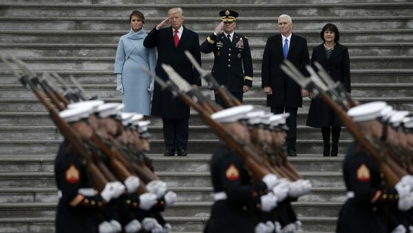 Newly inaugurated U.S. President Donald Trump (in red tie), first lady Melania (L), Vice President Mike Pence and his wife Karen (R) preside over a military parade during Trump's swearing ceremony in Washington, U.S., January 20, 2017 - Sputnik International