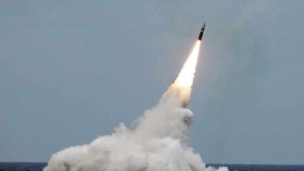 ATLANTIC OCEAN (August 31, 2016) An unarmed Trident II D5 missile launches from the Ohio-class fleet ballistic-missile submarine USS Maryland (SSBN 738) off the coast of Florida. The test launch was part of the U.S. Navy Strategic Systems Programs demonstration and shakedown operation certification process - Sputnik International