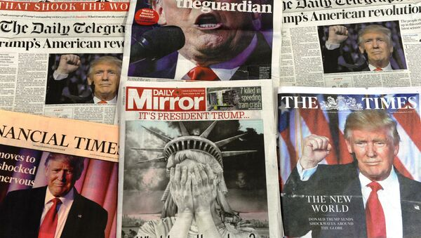 A selection of the front pages of the British national newspapers showing the reaction following Donald Trump's shock US presidential victory in London on November 10, 2016. - Sputnik International