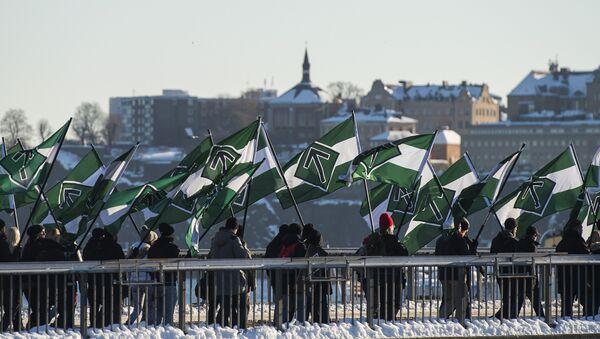The neo-nazi Nordic Resistance Movement (Nordiska motstandsrorelsens) sympathisers demonstrate in central Stockholm  (File) - Sputnik International