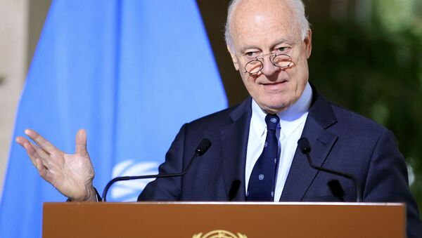 U.N. mediator for Syria Staffan de Mistura attends a news conference after a meeting at the United Nations in Geneva, Switzerland, January 12, 2017 - Sputnik International