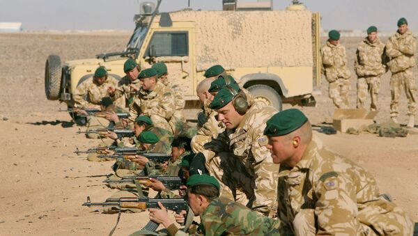 British Army officers from Operational Mentoring Liaison Training (OMLT) company train Afghan National Army or ANA, soldiers in firearms, near Camp Bastion, southern Afghanistan, Tuesday, Jan. 16, 2007. - Sputnik International