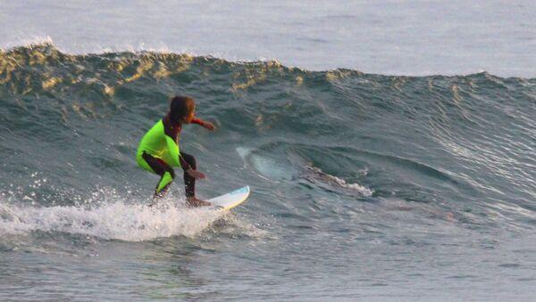 10-year-old Eden Hasson surfs near what is believed to be a great white shark at Samurai Beach, Port Stephens, Australia. - Sputnik International