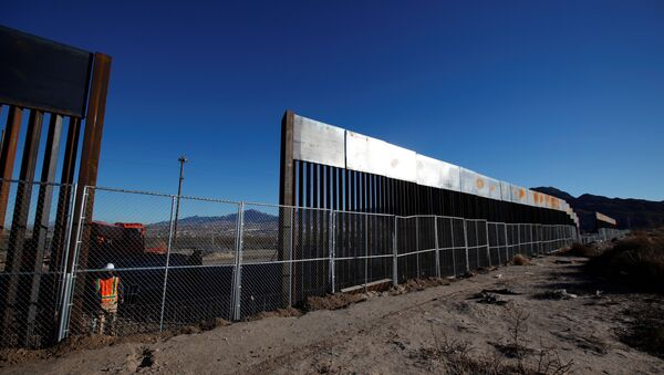 A worker stands next to a newly built section of the U.S.-Mexico border fence at Sunland Park, U.S. opposite the Mexican border city of Ciudad Juarez, Mexico - Sputnik International