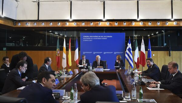 Participants sit in the meeting room at Belem cultural center in Lisbon on January 28, 2017, during the Southern EU Countries Summit - Sputnik International