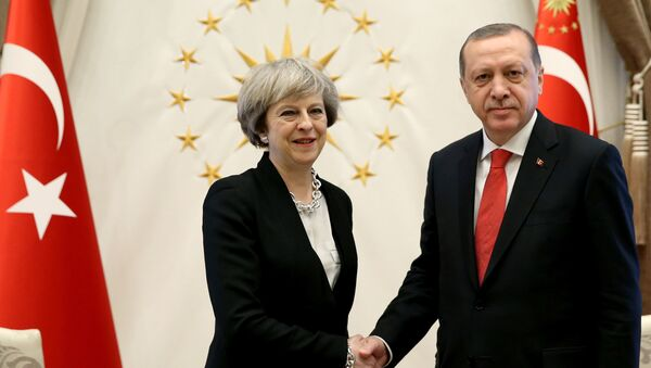 Turkish President Tayyip Erdogan meets with Britain's Prime Minister Theresa May at the Presidential Palace in Ankara, Turkey, January 28, 2017. - Sputnik International