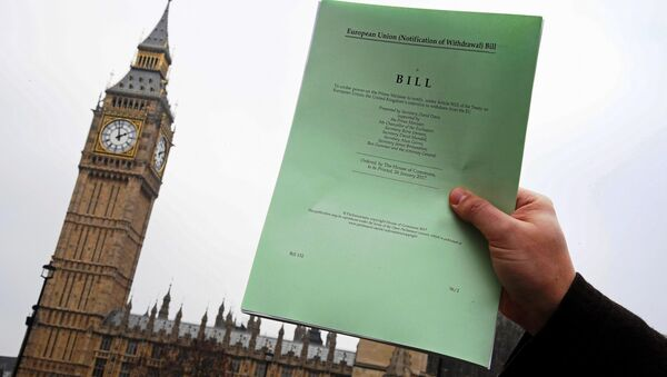 A journalist poses with a copy of the Brexit Article 50 bill, introduced by the government to seek parliamentary approval to start the process of leaving the European Union, in front of the Houses of Parliament in London, Britain, January 26, 2017. - Sputnik International