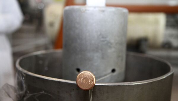 International Atomic Energy Agency (IAEA) seal on a piece of equipment at one of Iran's uranium enrichment facilities at the Natanz plant, some 200 miles (322 kilometers) south of the capital Tehran, Iran. (File) - Sputnik International