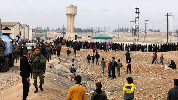 Refugees in the temporary refugee shelter in Jibreen, Aleppo. Photo: Courtesy of The Russian Center for Reconciliation of Opposing Sides in the Syrian Arab Republic - Sputnik International