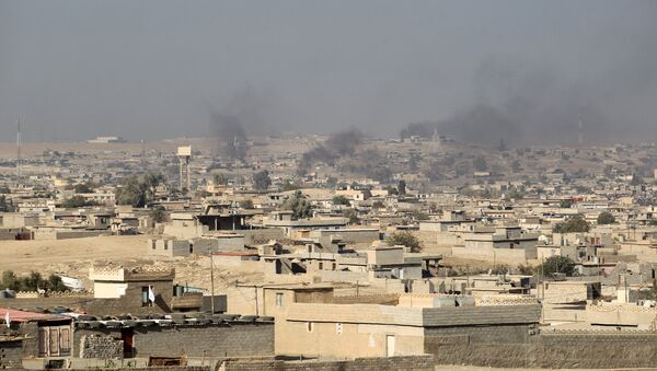 Smoke billowing from buildings in Hammam al-Alil area south of Mosul - Sputnik International