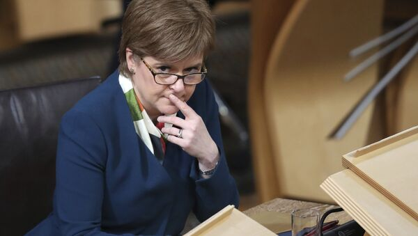 Scotland's First Minister Nicola Sturgeon sits in the main chamber of the Scottish Parliament in Edinburgh, Scotland Tuesday Jan. 17, 2017 ahead of the vote on the Scottish Government's plans to keep Scotland in the European single market even if the rest of the Britain leaves. - Sputnik International