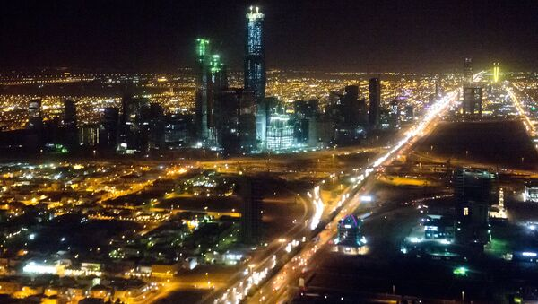 The skyline of Riyadh, Saudi Arabia is seen at night in this aerial photograph from a helicopter. - Sputnik International