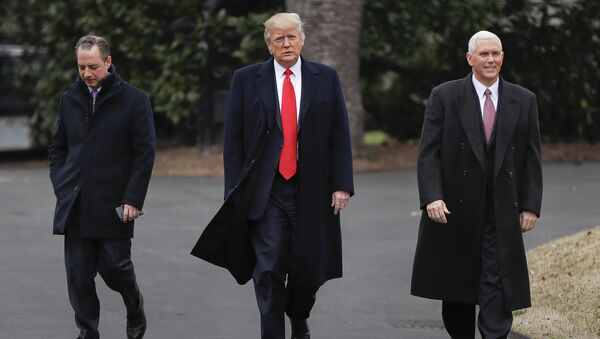 President Donald Trump, Vice President Mike Pence, right, and White House Chief of Staff Reince Priebus, left, walk together on the South Lawn of the White House in Washington to greet Harley Davidson Harley Davidson executives and union representatives - Sputnik International