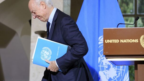 U.N. mediator for Syria Staffan de Mistura leaves after a news conference after a meeting at the United Nations in Geneva, Switzerland, January 12, 2017. - Sputnik International