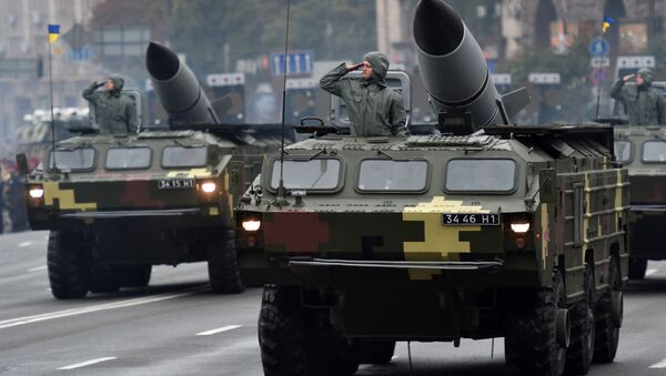 Soviet-made tactical ballistic missile complexes Tochka (Point) during a military parade in Kiev, August 24, 2016 - Sputnik International