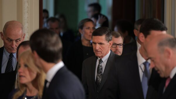 White House National Security Advisor Michael Flynn (C) arrives prior to a joint news conference between Canadian Prime Minister Justin Trudeau and U.S. President Donald Trump at the White House in Washington, U.S - Sputnik International