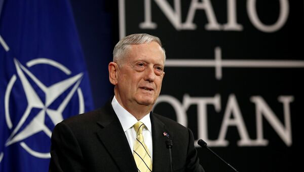 U.S. Defense Secretary Jim Mattis addresses a news conference during a NATO defence ministers meeting at the Alliance headquarters in Brussels, Belgium, February 16, 2017. - Sputnik International