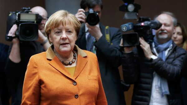 German Chancellor Angela Merkel arrives in the witness stand of a parliamentary inquiry in Berlin investigating the NSA's activities in Germany, February 16, 2017. - Sputnik International