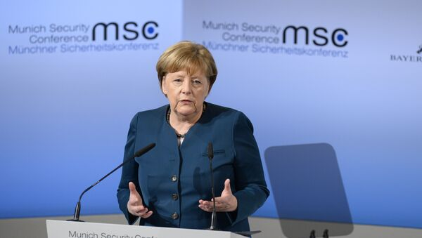German Chancellor Angela Merkel delivers a speech on the 2nd day of the 53rd Munich Security Conference (MCS) in Munich, southern Germany, on February 18, 2017 - Sputnik International
