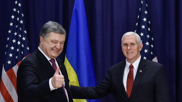 U.S. Vice President Mike Pence and Ukraine President Petro Poroshenko at the 53rd Munich Security Conference in Munich, Germany - Sputnik International