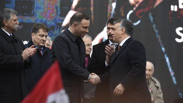 Polish President Andrzej Duda, center left, is welcomed by Hungarian Prime Minister Viktor Orban on the podium as Hungarian President Janos Ader, second right, and Speaker of the Hungarian Parliament Laszlo Kover, left, applaud during the state commemoration ceremony of the 1956 Hungarian revolution and freedom fight against communism and Soviet rule in front of the Parliament building in downtown Budapest, Hungary, Sunday, Oct. 23, 2016 - Sputnik International
