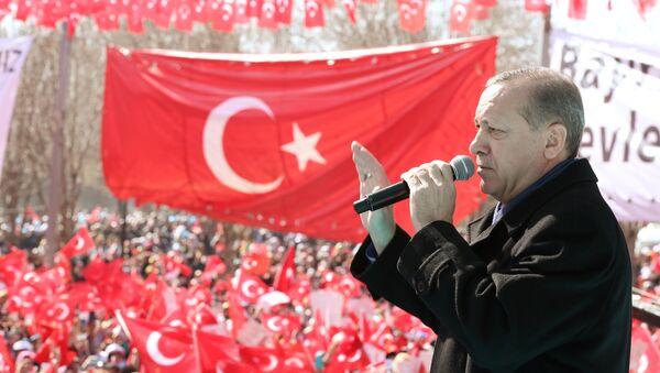 Turkish President Tayyip Erdogan makes a speech during an opening ceremony in the southeastern city of Gaziantep, Turkey, February 19, 2017. - Sputnik International