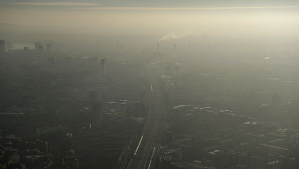 Pollution haze over South East London, through a window in a viewing area of the 95-storey skyscraper The Shard, the tallest building in Britain, in London, Thursday, Jan. 19, 2017 - Sputnik International