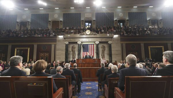 US President Donald J. Trump delivers his first address to a joint session of Congress from the floor of the House of Representatives in Washington, DC, USA, 28 February 2017 - Sputnik International