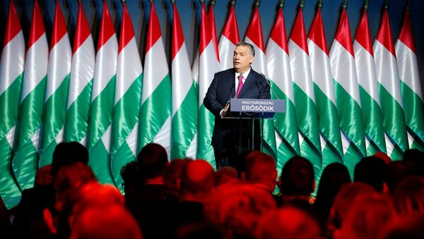 Hungarian Prime Minister Viktor Orban speaks during his state-of-the-nation address in Budapest, Hungary, February 10, 2017. Among world leaders, Orban is known as one of Soros' most outspoken critics. - Sputnik International