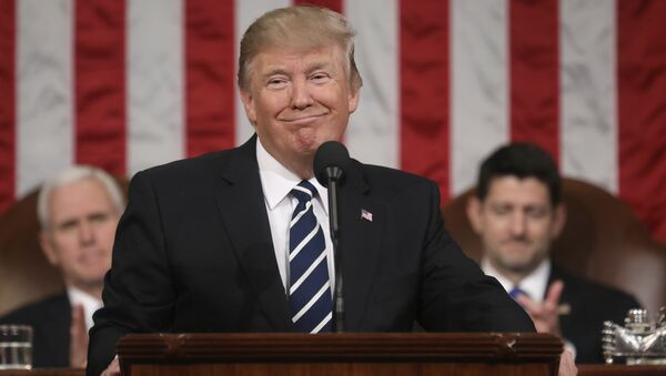 President Donald Trump addresses a joint session of Congress on Capitol Hill in Washington, Tuesday, Feb. 28, 2017, as Vice President Mike Pence and House Speaker Paul Ryan of Wis., listen - Sputnik International