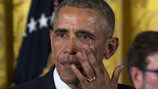 President Barack Obama wipes away tears from his eyes as he speaks in the East Room of the White House in Washington on Jan. 5, 2016, about steps his administration is taking to reduce gun violence. - Sputnik International