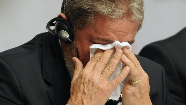 Brazilian President Luiz Inacio Lula da Silva cries at the press conference after Rio won the right to host the 2016 Olympic games, on October 2, 2009 in Copenhagen - Sputnik International